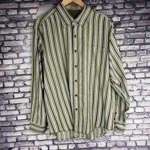 Tommy Bahama 100% Silk Stripe Button Down Shirt XL
